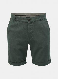 Zelené lněné straight fit chino kraťasy Selected Homme