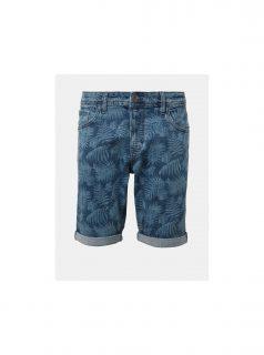 Modré pánské džínové vzorované kraťasy Tom Tailor