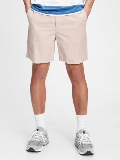"Růžové pánské kraťasy 7 easy linen shorts with e-waist """