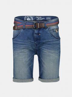 Modré pánské džínové kraťasy s páskem LERROS
