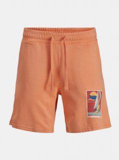 Oranžové teplákové kraťasy s potiskem Jack & Jones Tropicana