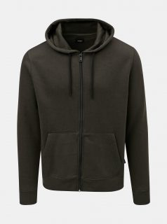 Khaki mikina s kapucí na zip Burton Menswear London