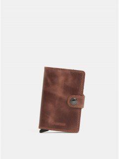 Hnědá kožená peněženka s pouzdrem na karty Secrid