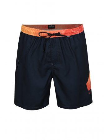 Oranžovo-modré pánské plavky s potiskem Quiksilver - Pánské plavky 26444db681