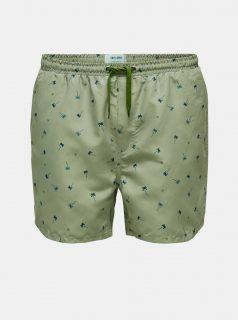 Zelené vzorované plavky ONLY & SONS