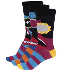 Sada tří černo-modrých unisex ponožek Oddsocks Barry