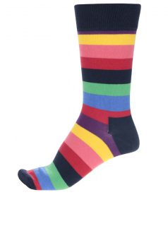 Tmavě modré unisex pruhované ponožky Happy Socks Stripe
