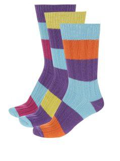 Sada tří unisex pruhovaných ponožek v modro-fialové barvě Oddsocks Rocky