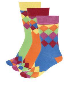 Sada tří unisex vzorovaných ponožek v modré, oranžové a zelené barvě Oddsocks Charlie