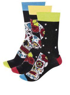 Sada tří unisex ponožek v černé barvě s barevnými lebkami Oddsocks Wesley