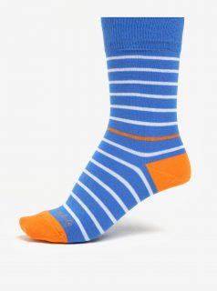 Modro-oranžové pruhované unisex ponožky Fusakle Páskavec konzervatívny