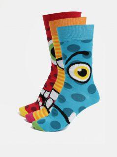 Sada tří unisex vzorovaných ponožek v modré, žluté a červené barvě Oddsocks Jason