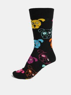Černé pánské vzorované ponožky Happy Socks