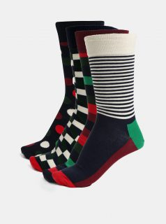 Sada čtyř párů pánských vzorovaných ponožek v modré, zelené a vínové barvě s dárkovým boxem Happy Socks Holiday