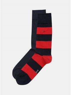 Sada dvou párů pánských pruhovaných ponožek v červené a tmavě modré barvě Tommy Hilfiger