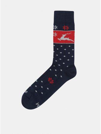 Červeno-modré unisex ponožky s vánočním motivem Fusakle Jelencok ... 631696dbd1