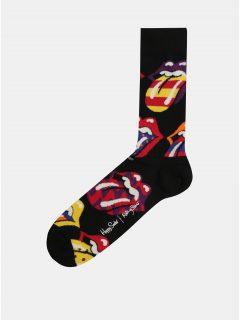 Černé pánské ponožky s motivem Happy Socks Rolling Stones