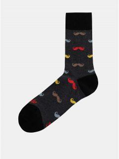 Tmavě šedé vzorované ponožky Fusakle Fúzač moderný