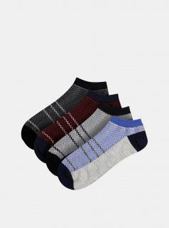 Sada čtyř párů šedých ponožek Jack & Jones Net