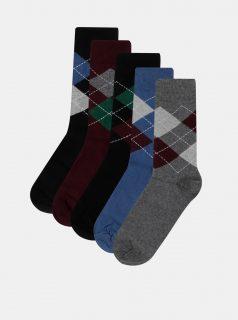 Sada pěti párů vzorovaných ponožek ve vínové, modré a černé barvě M&Co