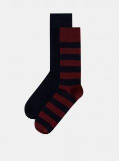 Sada dvou párů pánských ponožek ve vínové a modré barvě GANT
