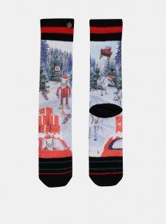 Červeno-modré pánské ponožky s vánočním motivem XPOOOS