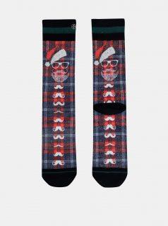 Modro-červené pánské ponožky s vánočním motivem XPOOOS