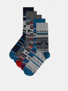Sada pěti párů pánských vzorovaných ponožek v modré a šedé barvě M&Co