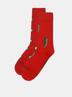 Červené ponožky s motivem paprik Fusakle Chilli