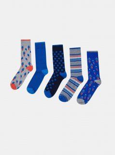 Sada pěti modrých vzorovaných ponožek Burton Menswear London