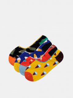 Sada čtyř párů nízkých ponožek v žluté, červené a modré barvě Jack & Jones Summer