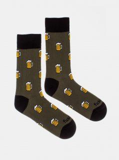 Khaki vzorované ponožky Fusakle Pojď na jedno