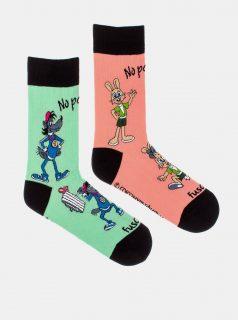 Růžovo-zelené vzorované ponožky Fusakle No počkej!