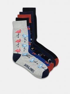 Sada pěti párů vzorovaných ponožek v šedé a černé barvě Jack & Jones