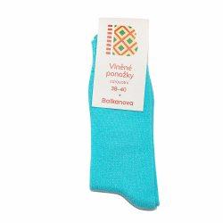 Ponožky 90% vlna, jednobarevný hladký úplet – svítivě modré