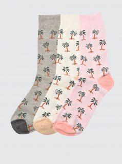 Sada tří párů vzorovaných ponožek v krémové a šedé barvě Trendyol