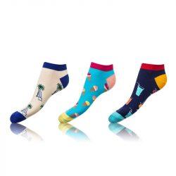 Kotníkové zábavné ponožky CRAZY IN-SHOE SOCKS 3 páry – Zábavné nízké crazy ponožky unisex v setu 3 páry – modrá – světle modrá – černá
