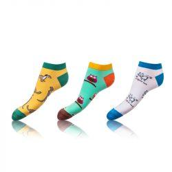 Kotníkové zábavné ponožky CRAZY IN-SHOE SOCKS 3 páry – Zábavné nízké crazy ponožky unisex v setu 3 páry – žlutá – zelená – bílá