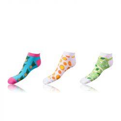 Kotníkové zábavné ponožky CRAZY IN-SHOE SOCKS 3 páry – Zábavné nízké crazy ponožky unisex v setu 3 páry – světle modrá – bílá – světle zelená