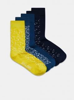 Sada pěti párů vzorovaných ponožek v modré barvě Jack & Jones Struc