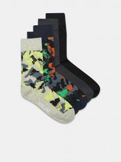 Sada pěti párů vzorovaných ponožek v modré a šedé barvě Jack & Jones Charles