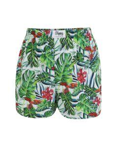 Bílo-zelené pánské trenýrky s tropickým vzorem Slippsy Jungle Boy