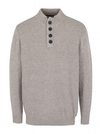 Béžový žíhaný svetr s knoflíky JP 1880 - Pánské svetry 671aafbb88