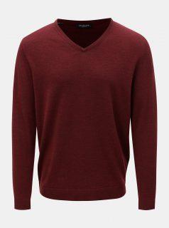 Vínový vlněný lehký svetr s véčkovým výstřihem Selected Homme