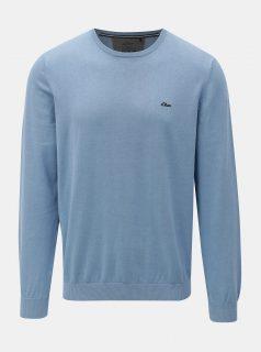 Světle modrý pánský lehký svetr s kulatým výstřihem s.Oliver