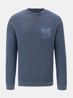 Modrý žíhaný lehký svetr s kapsou s.Oliver