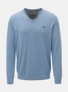 Modrý pánský lehký svetr s véčkovým výstřihem s.Oliver