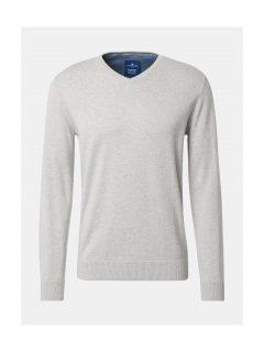 Světle šedý pánský žíhaný svetr Tom Tailor