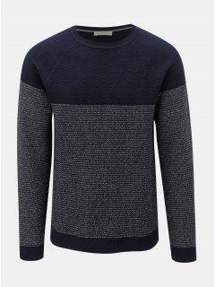 Tmavě modrý vzorovaný svetr Selected Homme Sander