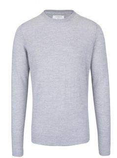 Šedý lehký vlněný svetr s dlouhým rukávem Lindbergh